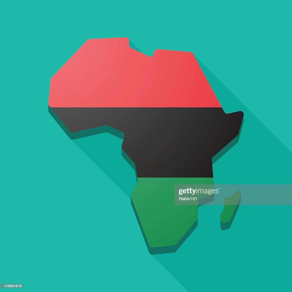 Africa Continent Map Icon With A Pan Africa Flag : Vector Art