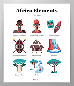 Africa vector illustration in flat color design
