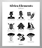 Africa vector illustration in solid color design