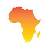 Africa map. Colorful orange vector illustration