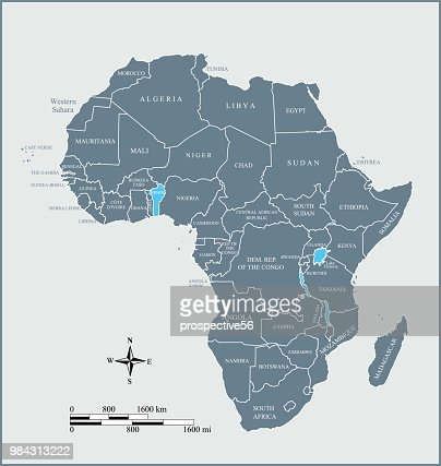 Africa Map Labled.Africa Map Countries Labeled Vector Outline Blue Background With
