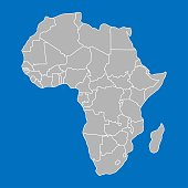 Africa Map outline graphic freehand drawing with the provinces colored in gray colors on blue background. Vector illustration