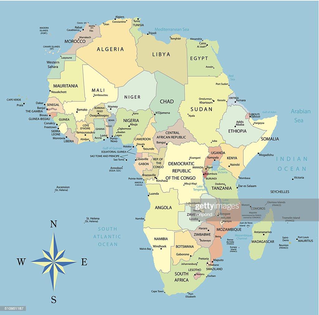 Africa map oceans