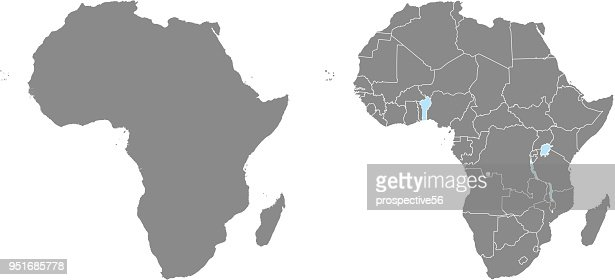 Africa map vector outline illustration with countries borders in gray background. Highly detailed accurate map of African continent prepared by a map expert. : stock vector
