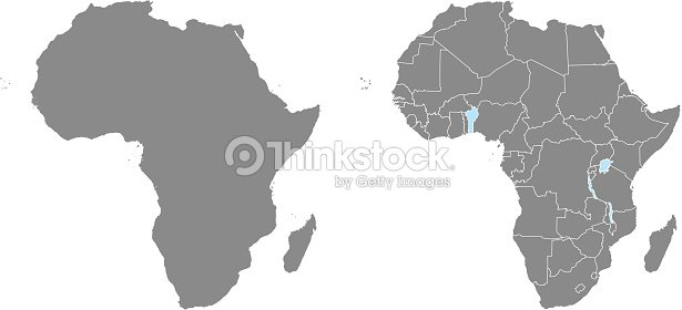Africa Map Vector Outline Illustration With Countries Borders In