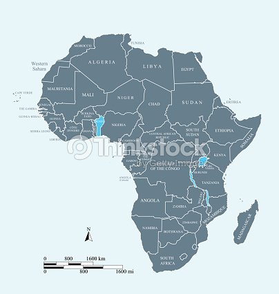 Africa Map Vector Outline Illustration With Miles And Kilometers ...