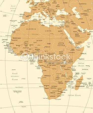 Carte Afrique Vectorielle.Carte De Lafrique Illustration Vectorielle Vintage Clipart