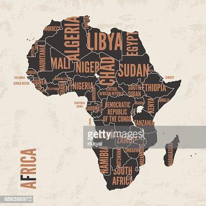 Africa vintage detailed map print poster design. Vector illustration. : stock vector