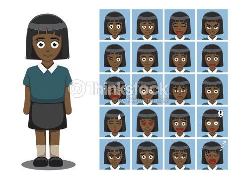African American Girl Vector Ilustración De Dibujos Animados