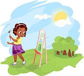 Cute little african american girl painting an image on easel outdoors. Kids hobby cartoon illustration. Warm summer weather outside.