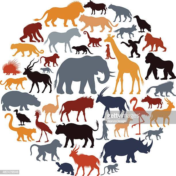 African Animal Silhouettes Collage