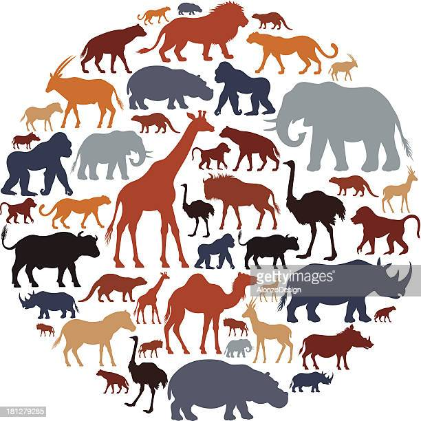 African Animals Icon Composition