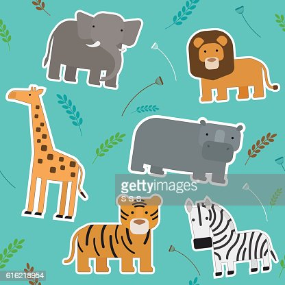 African Animals Seamless Pattern : Vektorgrafik