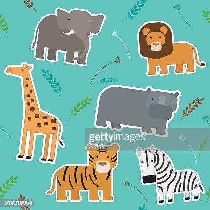 African Animals Seamless Pattern : Vector Art