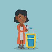 Young african-american business woman showing travel insurance tag. Business class passenger standing next to the suitcase and holding priority luggage tag. Vector cartoon illustration. Square layout