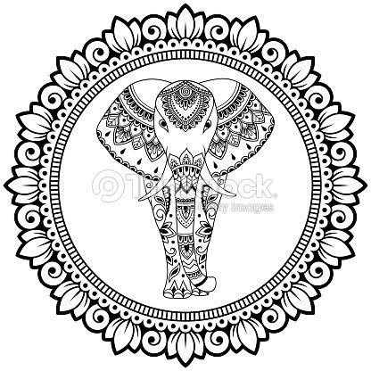 Elefante Africano En El Mandala Decoración De India étnica Flores ...