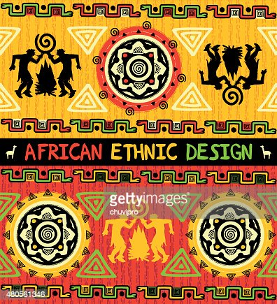 African ethnic  design with abstract geometric ornament and dancing people : Vector Art