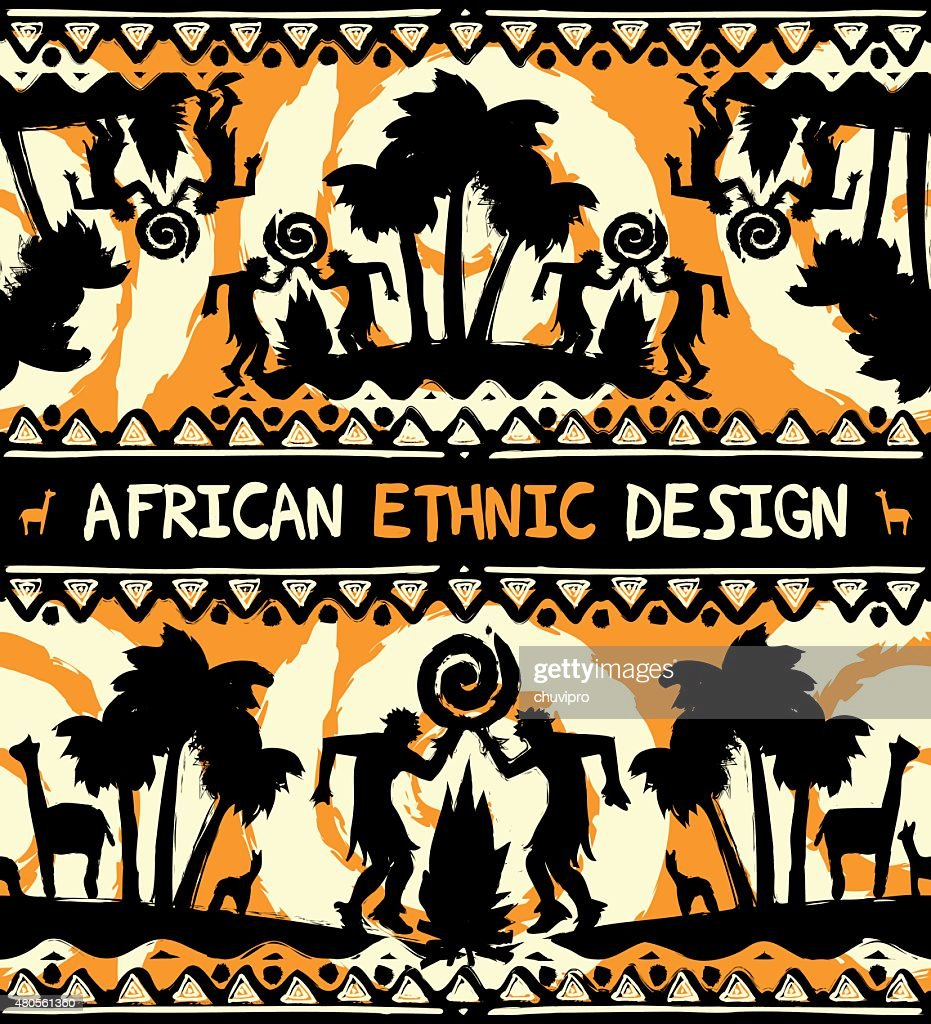 African ethnic  design with dancing people and palm trees : Vector Art