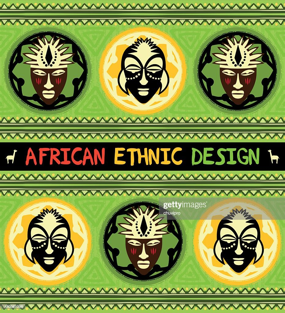 African ethnic  design with masks : Vector Art