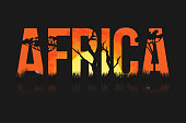 African landscape with trees and sun. Lettering Africa with savanna, prairies, sunset inside. Vector