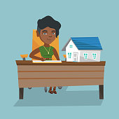 Young african real estate agent sitting at the table with house model on it and signing a contract. Real estate agent signing a home purchase contract. Vector cartoon illustration. Square layout.