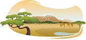 Vector illustration of an african savannah.