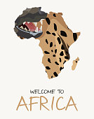 African spotted hyena map illustration