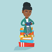 Young african-american student sitting on a huge pile of books and holding a book in hands. Happy student sitting on the stack of books and reading a book. Vector cartoon illustration. Square layout.