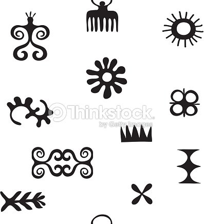 African Symbols Pattern With Trybal Icons Hieroglyph Ancient