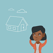 African woman dreaming about future life in a new house. Young woman planning her future purchase of a house. Woman thinking about buying a new house. Vector cartoon illustration. Square layout.