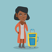 Young african-american thoughtful woman holding her finger on a chin and waiting for a flight. Full length of passenger with a suitcase. Vector cartoon illustration. Square layout.
