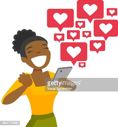African-american woman getting social media likes : stock vector