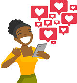 Young african-american woman using a smartphone with many social media heart like icons. Woman getting likes in social network. Vector cartoon illustration isolated on white background. Square layout.