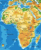 Highly detailed physical map of Africa.