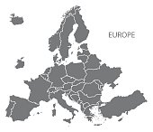 NEW EUROPEAN MAP after exit of Britain with all countries in grey