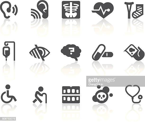 Age Related Diseases Icons | Simple Black Series