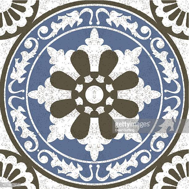 Aged effect Moorish Spanish mosaic tile