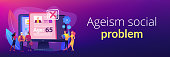HR agency age discrimination. Job candidate CV, personal profile. Ageism social problem, stop ageism, elderly employment difficulties concept. Header or footer banner template with copy space.