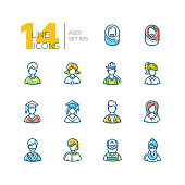 Ages - set of line design style icons isolated on white background. High quality colorful minimalistic pictograms with different people. Man, woman, boy, girl, babies, senior men