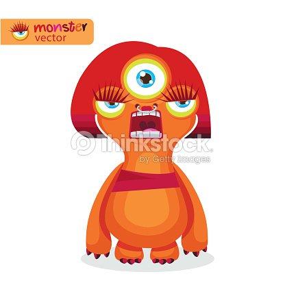 Agresiva Mujer Dibujos Animados Lindo Monstruo Femenino Niña ...