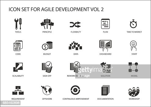 Agile software development vector icon set : stock vector
