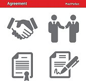 Professional, pixel perfect icons depicting various agreement concepts.