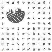 Farm icon. Agriculture and Farm Vector Icons Set. Farm and Agriculture illustrations and vector icons
