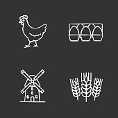 Agriculture chalk icons set. Vector. Farming. Chicken, eggs tray, windmill, wheat ears