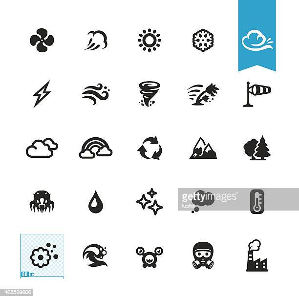 Air conditioning and Purifier related vector icons