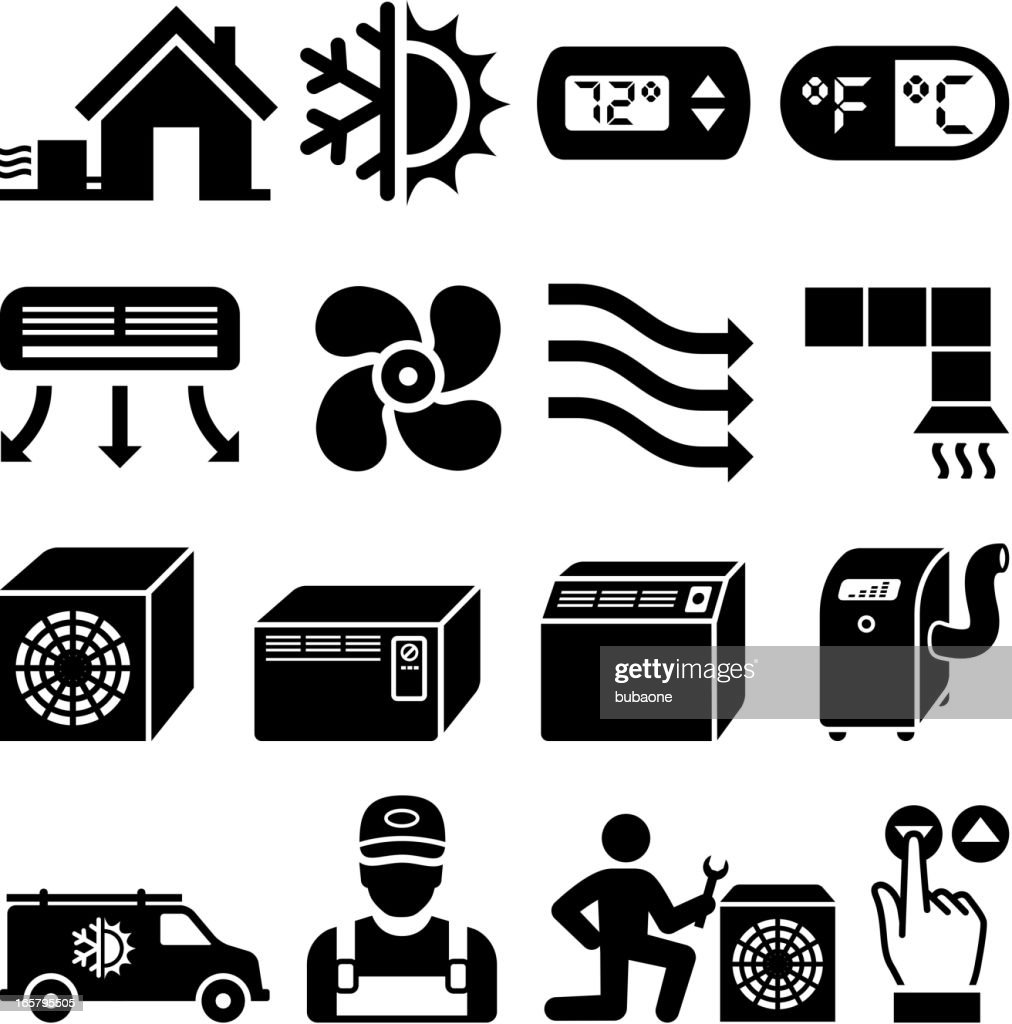 heating cooling icon. air conditioning heating and cooling black \u0026 white icon set : vector art o
