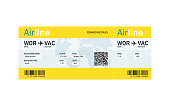 Air ticket by plane with text. Airline boarding pass. Travel by Aerial Transport. Vector illustration