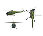 Air vehicles. Flying helicopter, for transportation. Air passenger helicopter in angles side view, front, top. Transport for flight in air. Logistics, delivery services, shipping Vector illustration