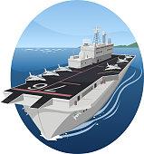 Aircraft carrier war battle warship, vector illustration cartoon.
