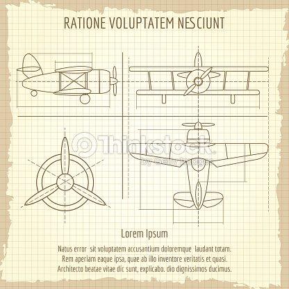 Aircraft retro drawing plane vintage blueprint vector retro drawing aircraft retro drawing plane vintage blueprint vector retro drawing vector art malvernweather Images
